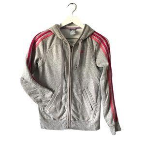 Adidas grey pink 3 stripe zip up hoodie XS